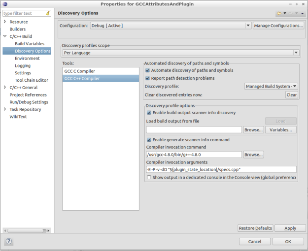 Figure 6: Discovery Options Dialog