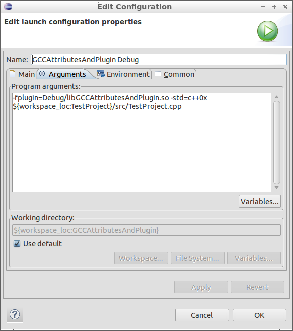 Figure 8: Arguments Tab for the Debug Launch Profile