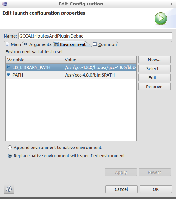 Figure 9: Debug Profile Environment Tab