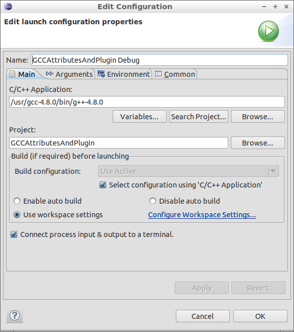 Figure 7: Debug Profile Main Dialog