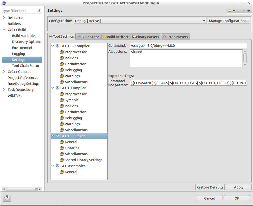 Figure 5: Linker Settings Dialog